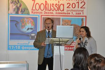 Dr. Fleck giving a seminar in Moscow, Russia, at Zoo Russia 2012 on proper skin & coat care